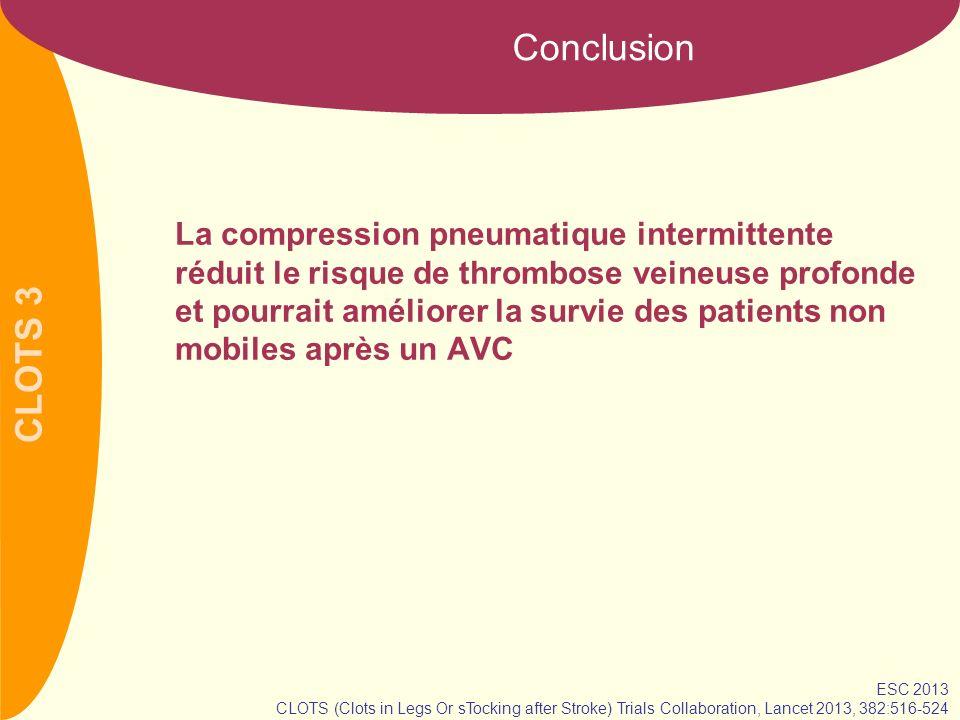 CLOTS 3 Conclusion La compression pneumatique intermittente réduit le risque de thrombose veineuse profonde et pourrait améliorer la survie des patien