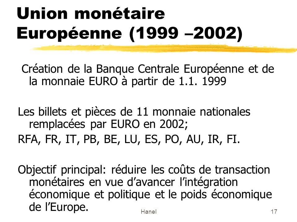 Hanel17 Union monétaire Européenne (1999 –2002) Création de la Banque Centrale Européenne et de la monnaie EURO à partir de 1.1.