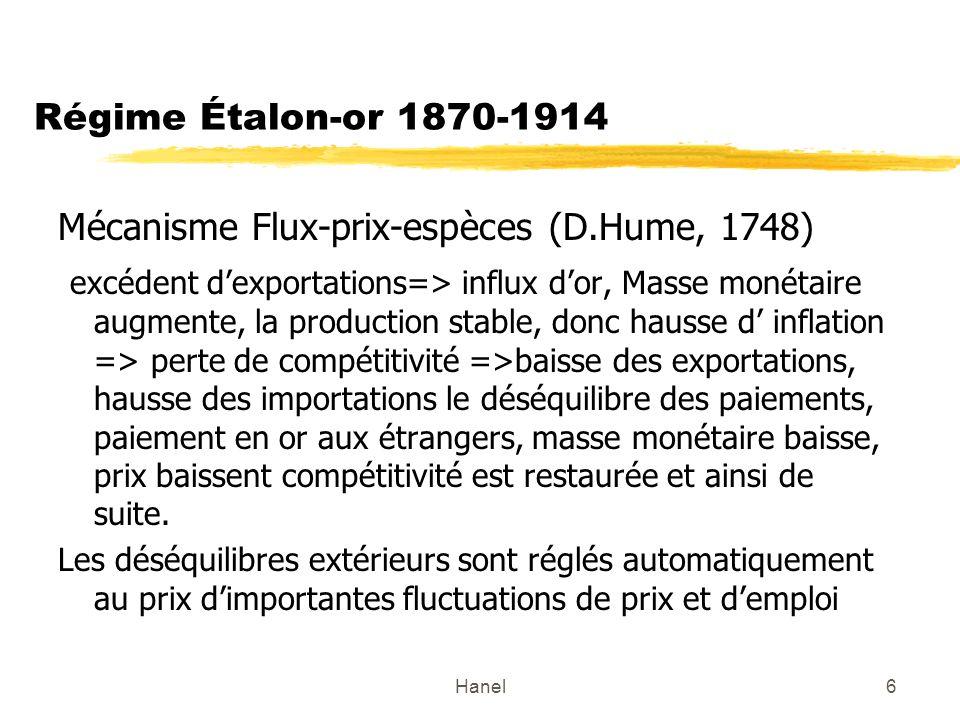 Hanel7 Quelques événements de lhistoire du régime étalon-or 1870-1914 Stabilité extérieure assurée au prix de grandes fluctuations entre période de croissance éco.