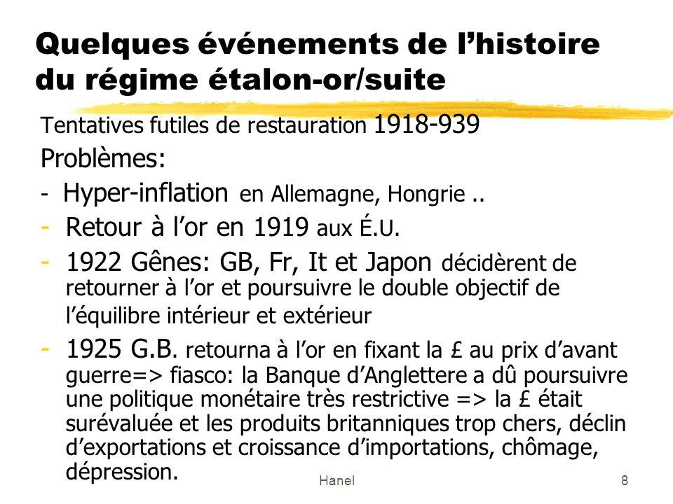 Hanel9 Quelques événements de lhistoire du régime étalon-or/suite -1929 Crash boursier –la Grande crise => étalon- or abandonné par la G.B en 1931 et par les UÉ.U.