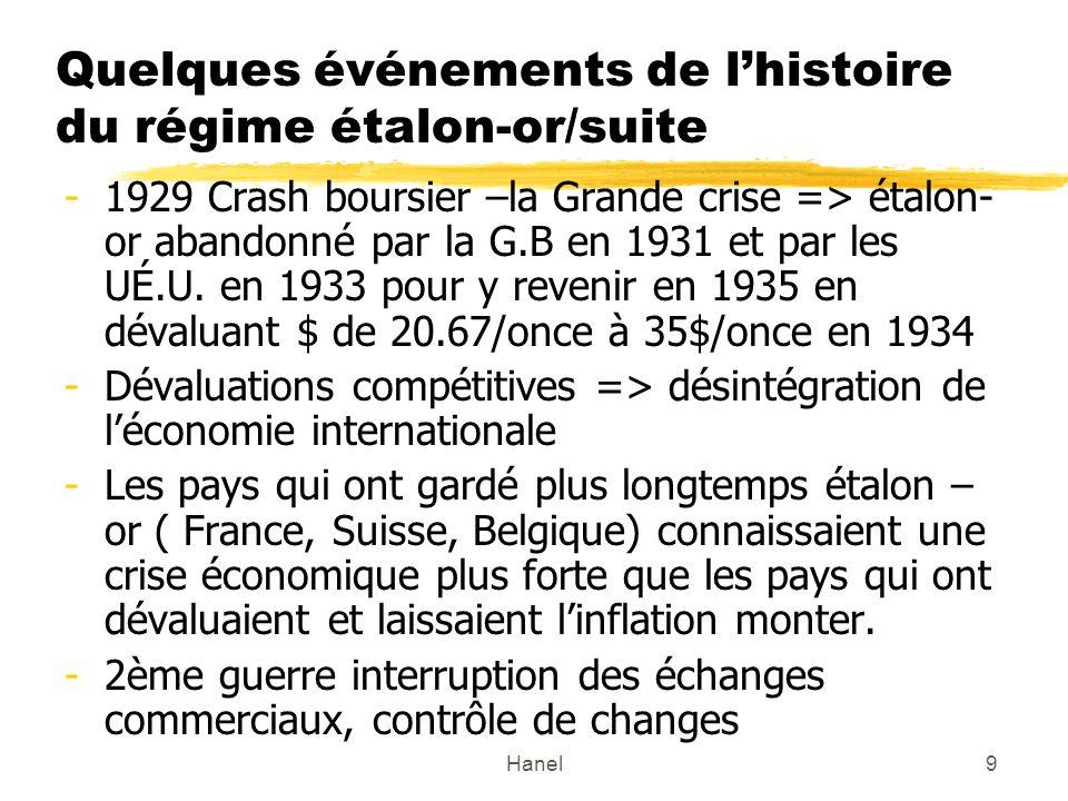 Hanel10 Régime de Bretton woods 1944 FMI et système étalon-devise ($US)-or Prix de $ fixé à lor (35$=once dor), les autres pays devaient maintenir leur taux de change fixe p.r.