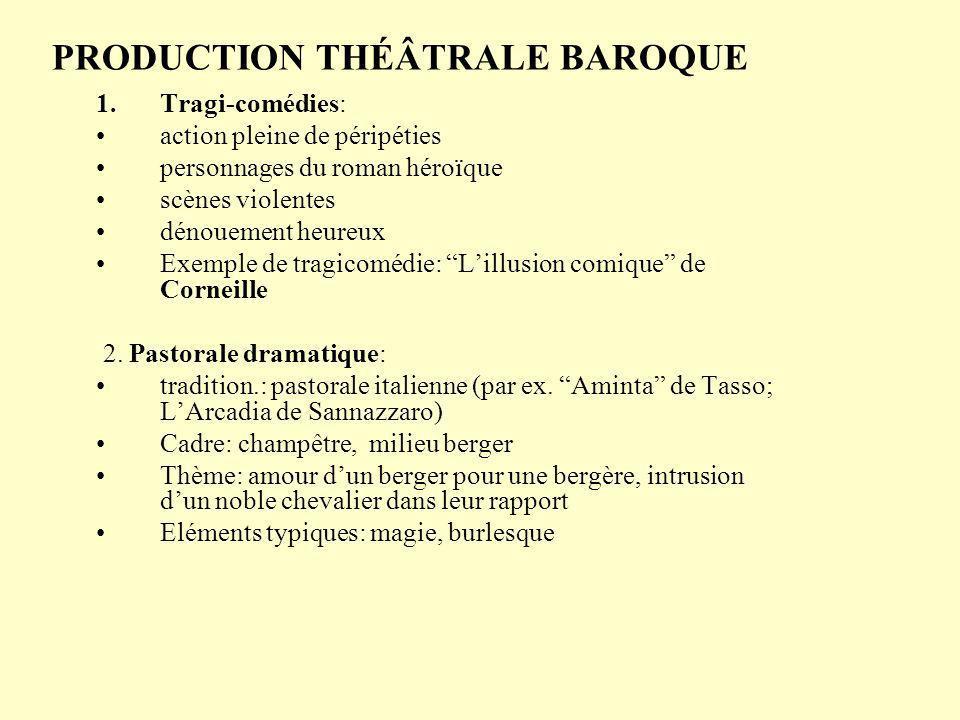 PRODUCTION THÉÂTRALE BAROQUE 1.Tragi-comédies: action pleine de péripéties personnages du roman héroïque scènes violentes dénouement heureux Exemple de tragicomédie: Lillusion comique de Corneille 2.