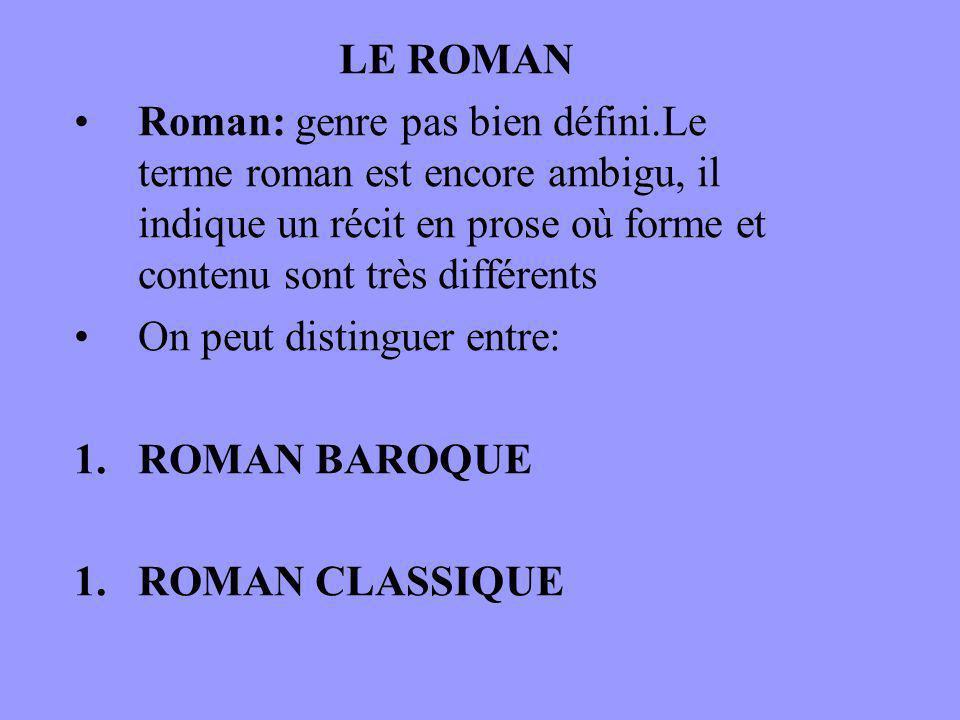 LE ROMAN Roman: genre pas bien défini.Le terme roman est encore ambigu, il indique un récit en prose où forme et contenu sont très différents On peut distinguer entre: 1.ROMAN BAROQUE 1.ROMAN CLASSIQUE