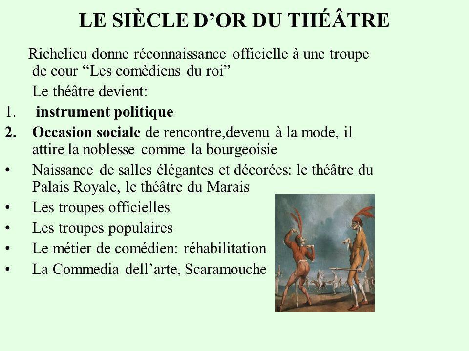 LE SIÈCLE DOR DU THÉÂTRE Richelieu donne réconnaissance officielle à une troupe de cour Les comèdiens du roi Le théâtre devient: 1.