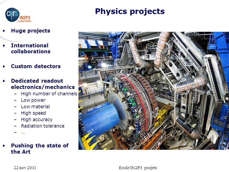 22 nov 2011Ecole IN2P3 projets Physics projects Huge projects International collaborations Custom detectors Dedicated readout electronics/mechanics –High number of channels –Low power –Low material –High speed –High accuracy –Radiation tolerance –… Pushing the state of the Art