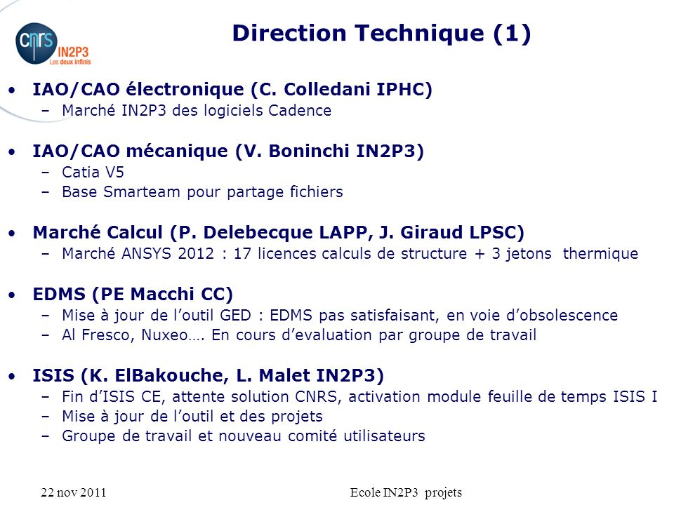 22 nov 2011Ecole IN2P3 projets Direction Technique (1) IAO/CAO électronique (C.