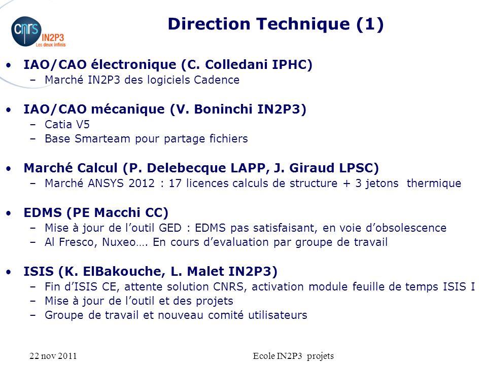 22 nov 2011Ecole IN2P3 projets Direction Technique (1) IAO/CAO électronique (C. Colledani IPHC) –Marché IN2P3 des logiciels Cadence IAO/CAO mécanique
