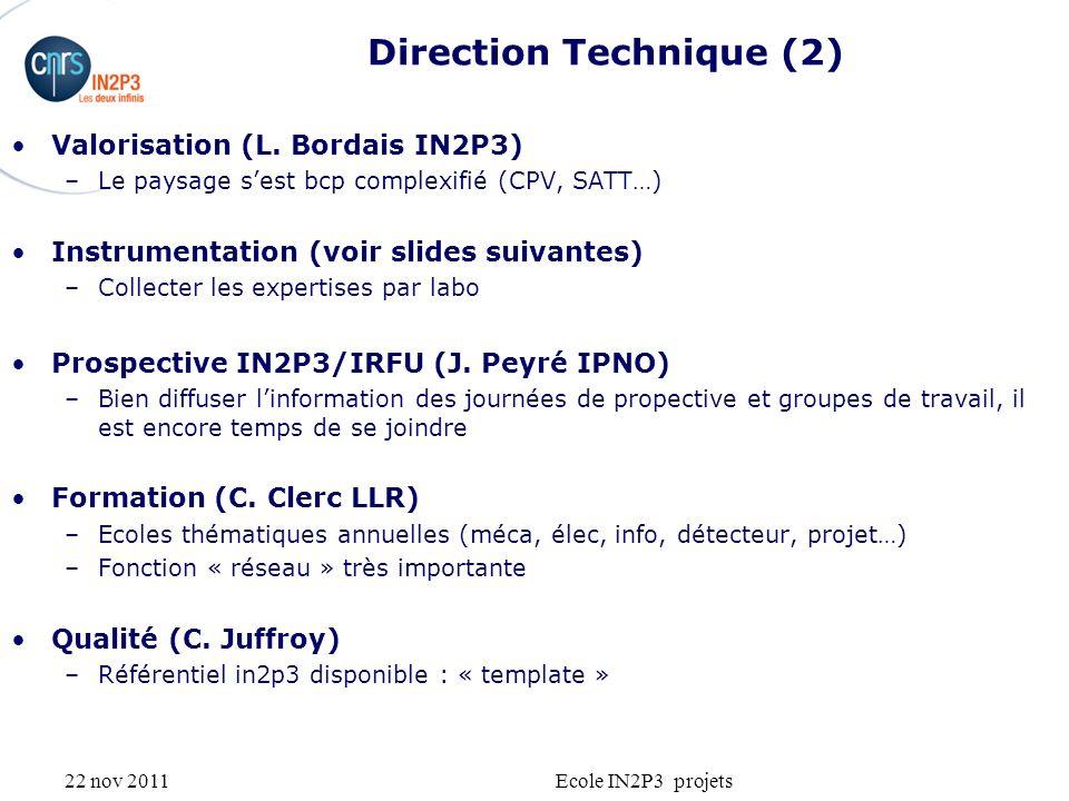 22 nov 2011Ecole IN2P3 projets Direction Technique (2) Valorisation (L. Bordais IN2P3) –Le paysage sest bcp complexifié (CPV, SATT…) Instrumentation (