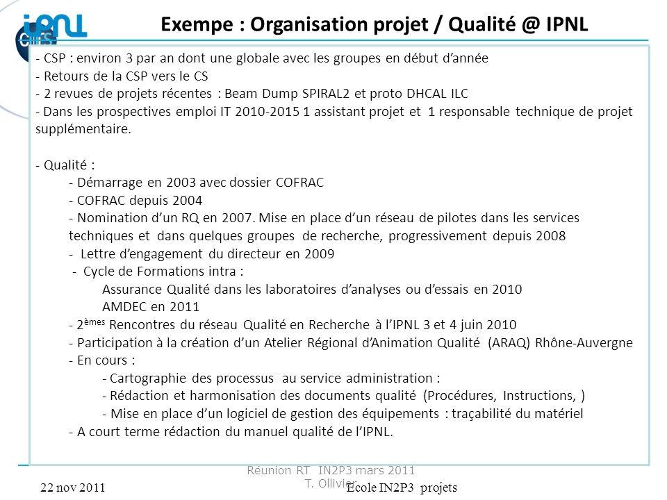 22 nov 2011Ecole IN2P3 projets Réunion RT IN2P3 mars 2011 T. Ollivier Exempe : Organisation projet / Qualité @ IPNL - CSP : environ 3 par an dont une