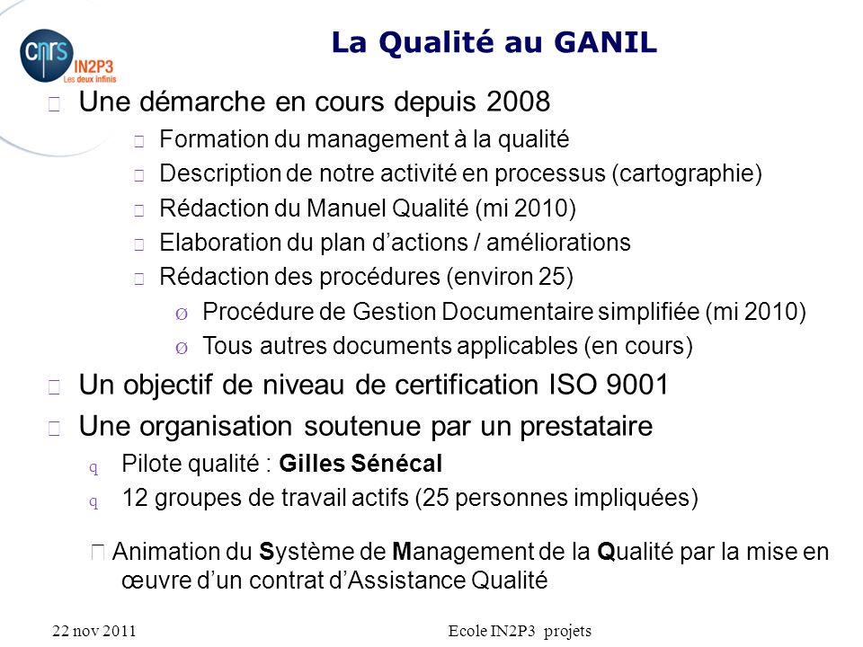 22 nov 2011Ecole IN2P3 projets Une démarche en cours depuis 2008 Formation du management à la qualité Description de notre activité en processus (cart
