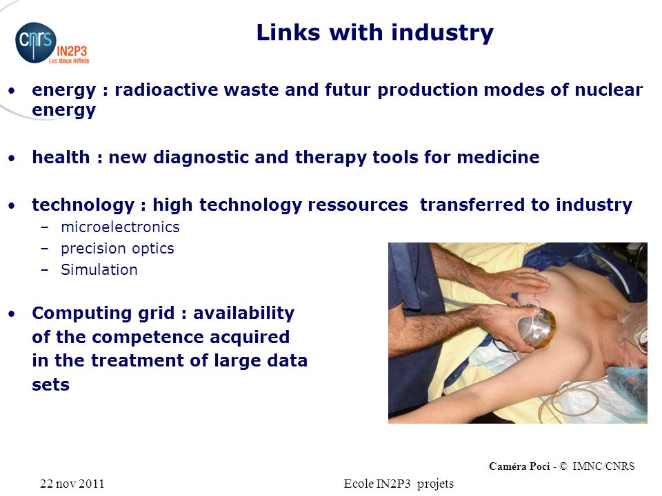 22 nov 2011Ecole IN2P3 projets Links with industry energy : radioactive waste and futur production modes of nuclear energy health : new diagnostic and
