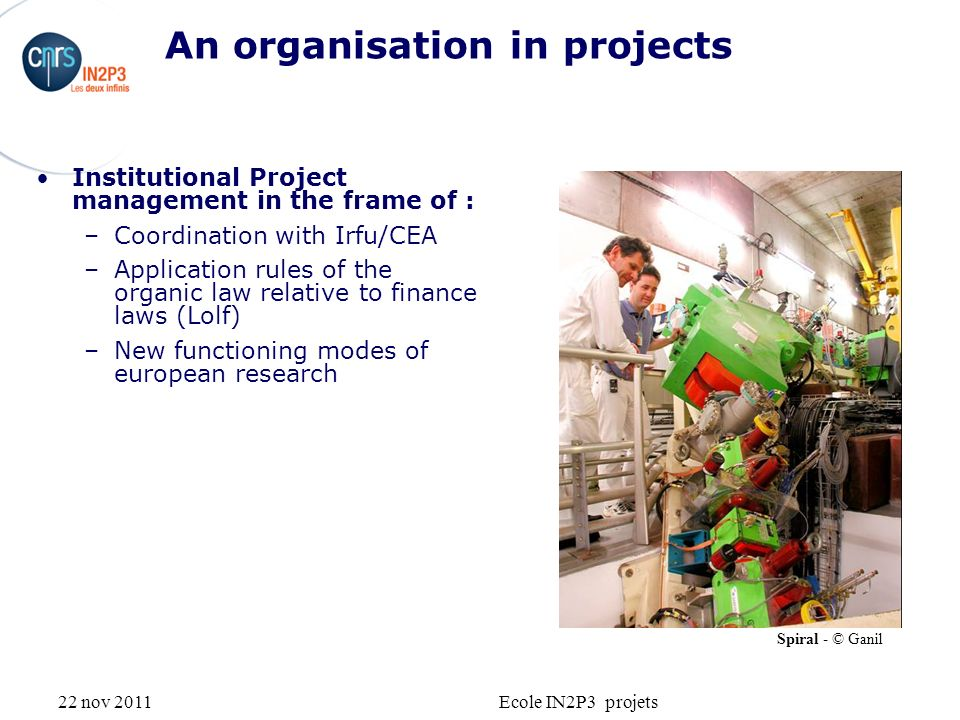 22 nov 2011Ecole IN2P3 projets An organisation in projects Institutional Project management in the frame of : –Coordination with Irfu/CEA –Application rules of the organic law relative to finance laws (Lolf) –New functioning modes of european research Spiral - © Ganil