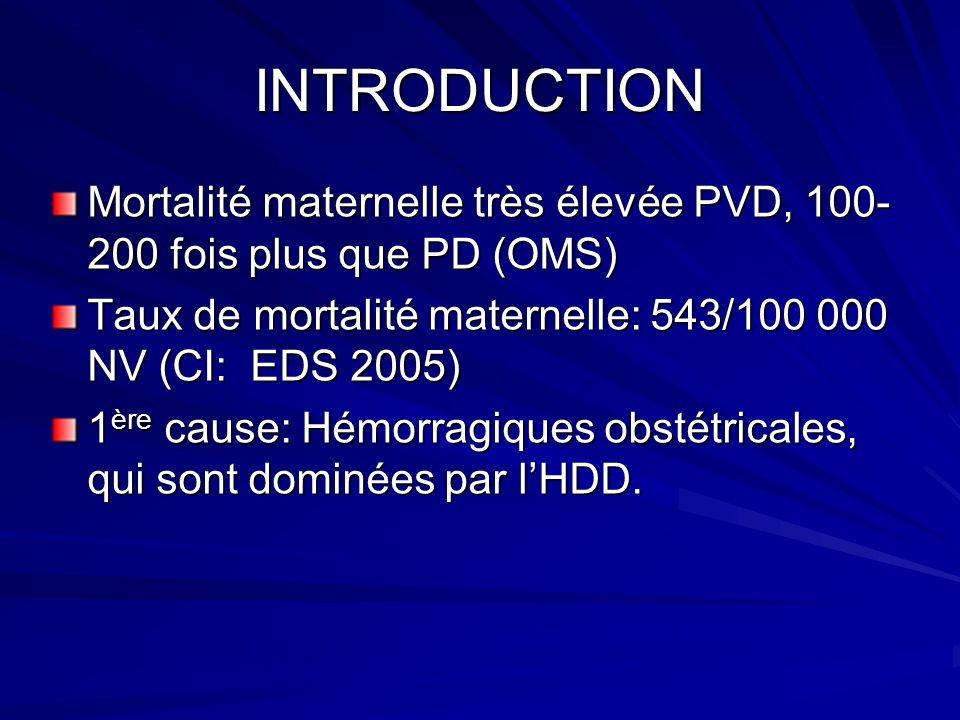 INTRODUCTION Mortalité maternelle très élevée PVD, 100- 200 fois plus que PD (OMS) Taux de mortalité maternelle: 543/100 000 NV (CI: EDS 2005) 1 ère c