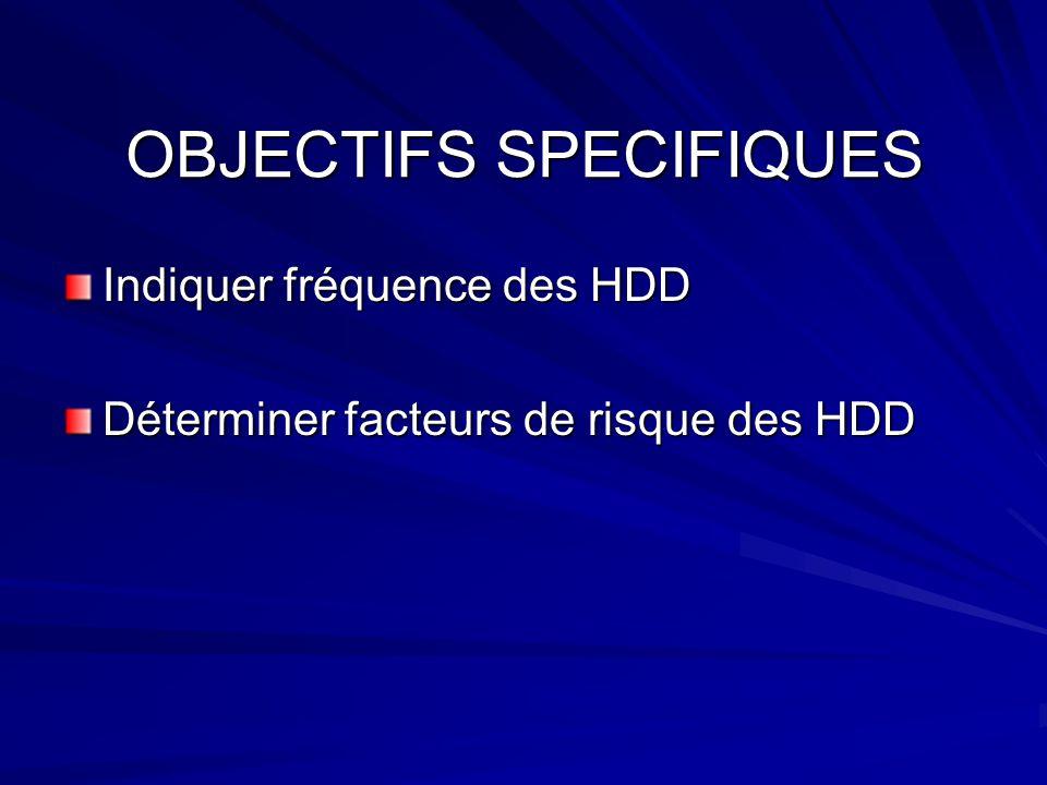 OBJECTIFS SPECIFIQUES Indiquer fréquence des HDD Déterminer facteurs de risque des HDD