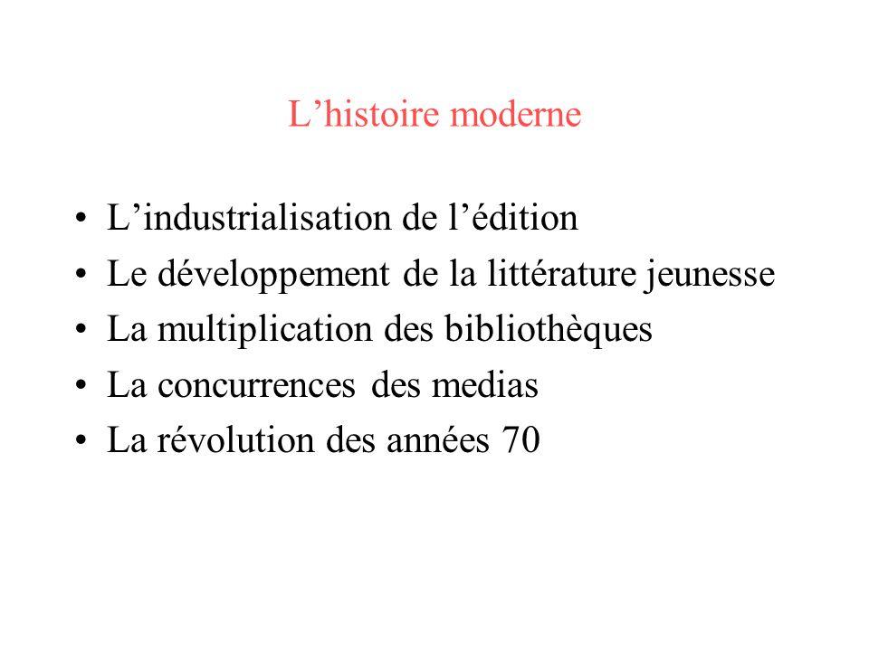 Lhistoire moderne Lindustrialisation de lédition Le développement de la littérature jeunesse La multiplication des bibliothèques La concurrences des m