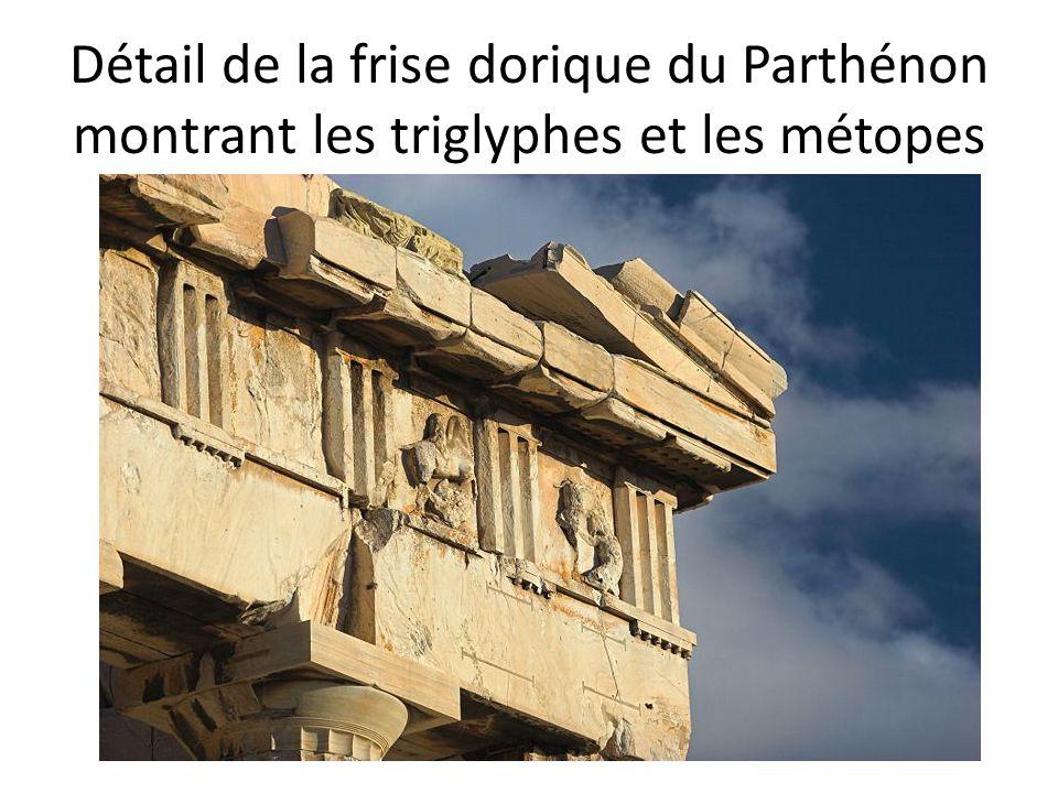 Détail de la frise dorique du Parthénon montrant les triglyphes et les métopes