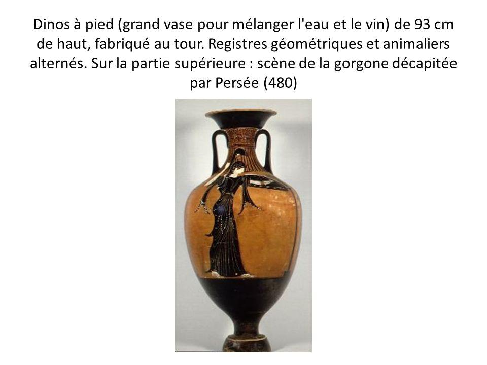 Dinos à pied (grand vase pour mélanger l'eau et le vin) de 93 cm de haut, fabriqué au tour. Registres géométriques et animaliers alternés. Sur la part