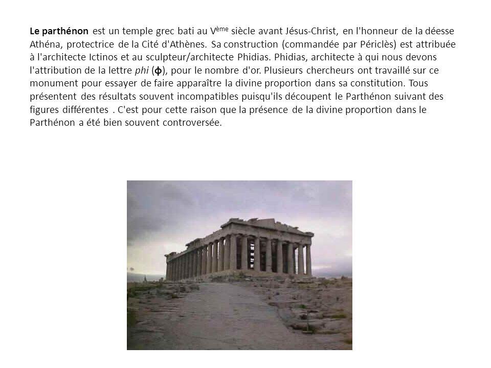 Le parthénon est un temple grec bati au V ème siècle avant Jésus-Christ, en l'honneur de la déesse Athéna, protectrice de la Cité d'Athènes. Sa constr