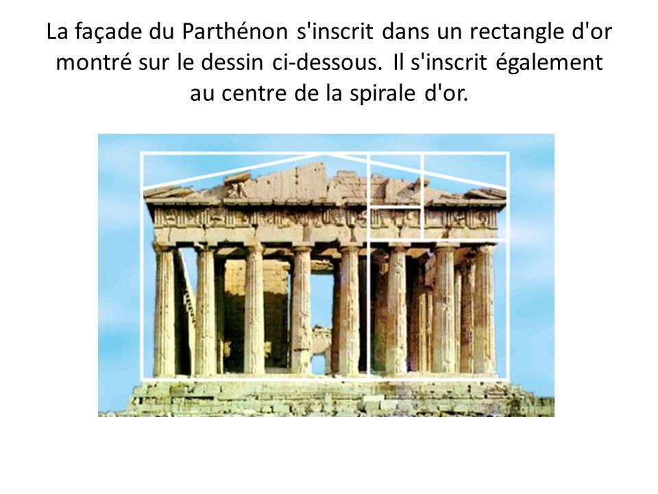 La façade du Parthénon s'inscrit dans un rectangle d'or montré sur le dessin ci-dessous. Il s'inscrit également au centre de la spirale d'or.