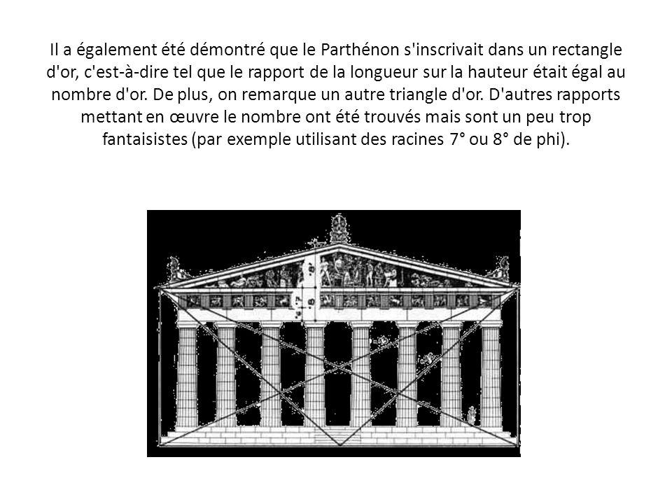 Il a également été démontré que le Parthénon s'inscrivait dans un rectangle d'or, c'est-à-dire tel que le rapport de la longueur sur la hauteur était