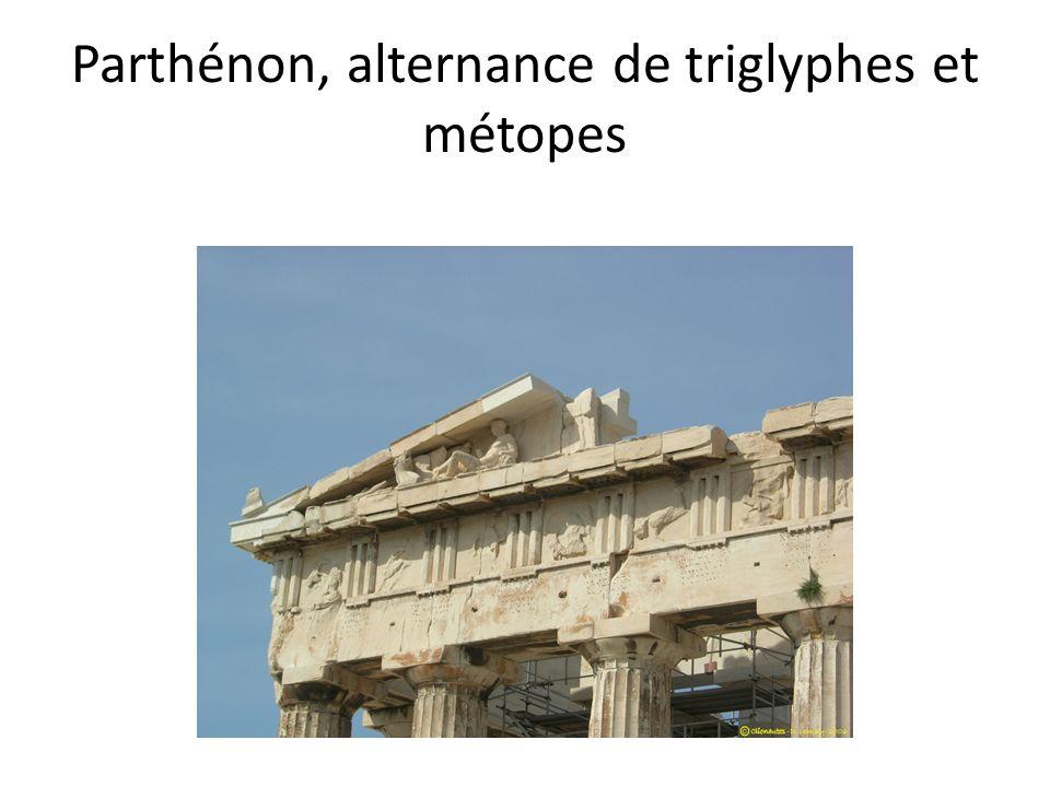 Parthénon, alternance de triglyphes et métopes