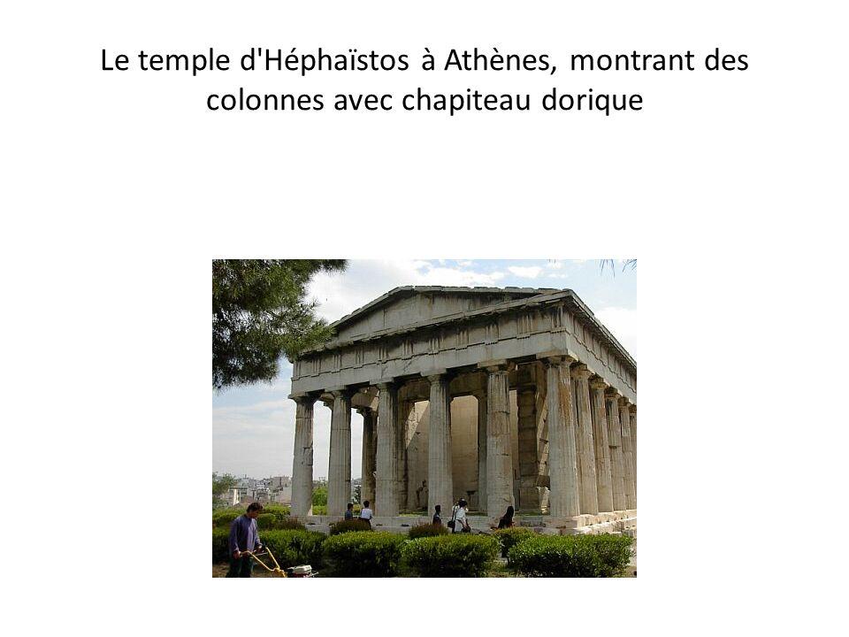 Le temple d'Héphaïstos à Athènes, montrant des colonnes avec chapiteau dorique