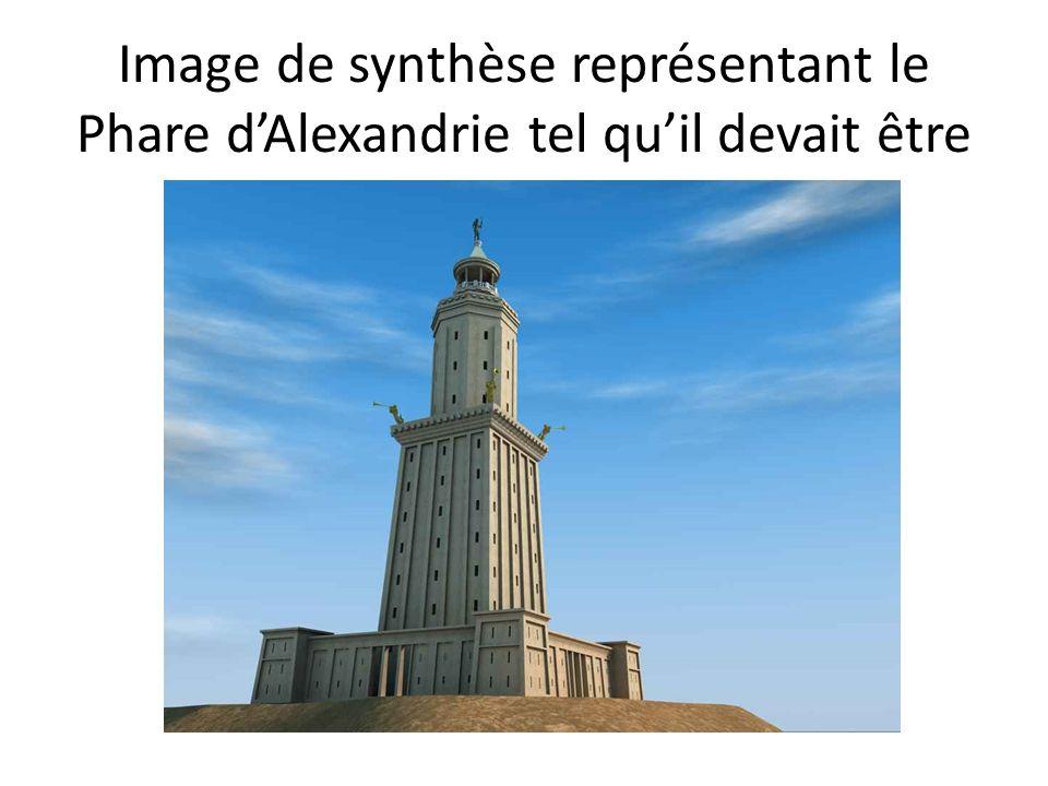Image de synthèse représentant le Phare dAlexandrie tel quil devait être