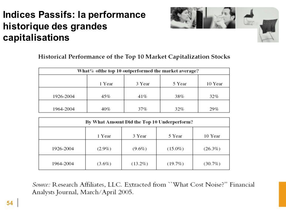 54 Indices Passifs: la performance historique des grandes capitalisations