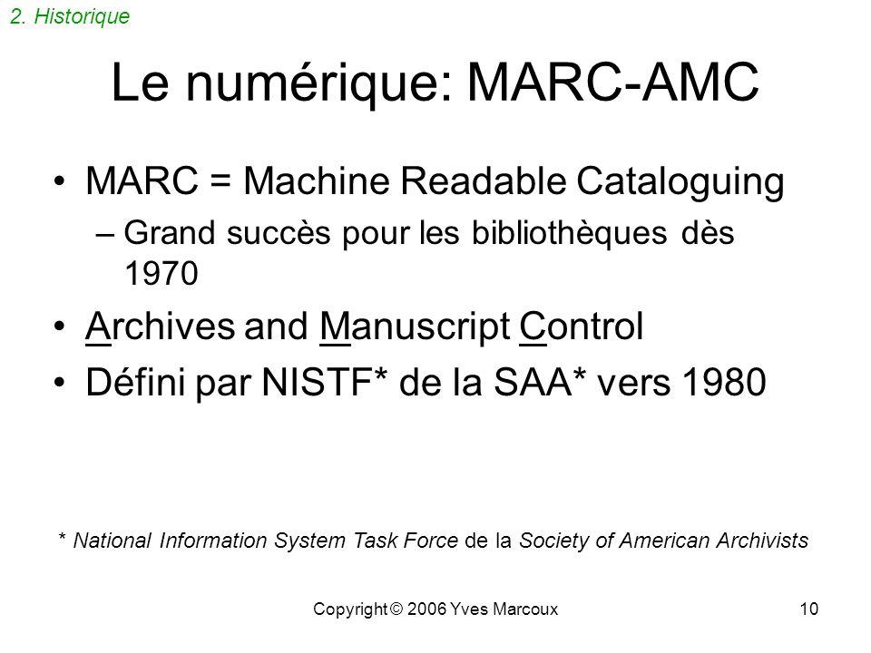 Copyright © 2006 Yves Marcoux10 Le numérique: MARC-AMC MARC = Machine Readable Cataloguing –Grand succès pour les bibliothèques dès 1970 Archives and Manuscript Control Défini par NISTF* de la SAA* vers 1980 2.