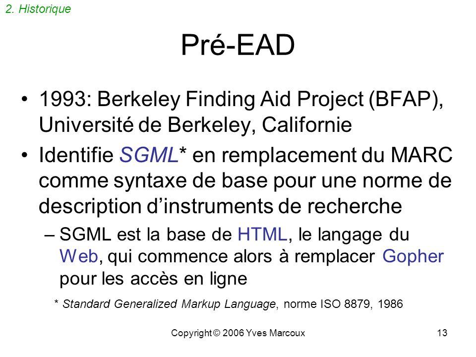 Copyright © 2006 Yves Marcoux13 Pré-EAD 1993: Berkeley Finding Aid Project (BFAP), Université de Berkeley, Californie Identifie SGML* en remplacement du MARC comme syntaxe de base pour une norme de description dinstruments de recherche –SGML est la base de HTML, le langage du Web, qui commence alors à remplacer Gopher pour les accès en ligne 2.