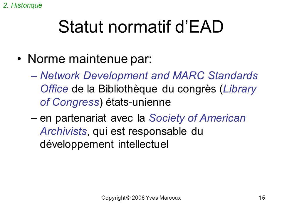 Copyright © 2006 Yves Marcoux14 enfin… EAD ! BFAP avait défini une « DTD » SGML (Document Type Definition) –appelée FindAid juillet 1995: Rencontre à