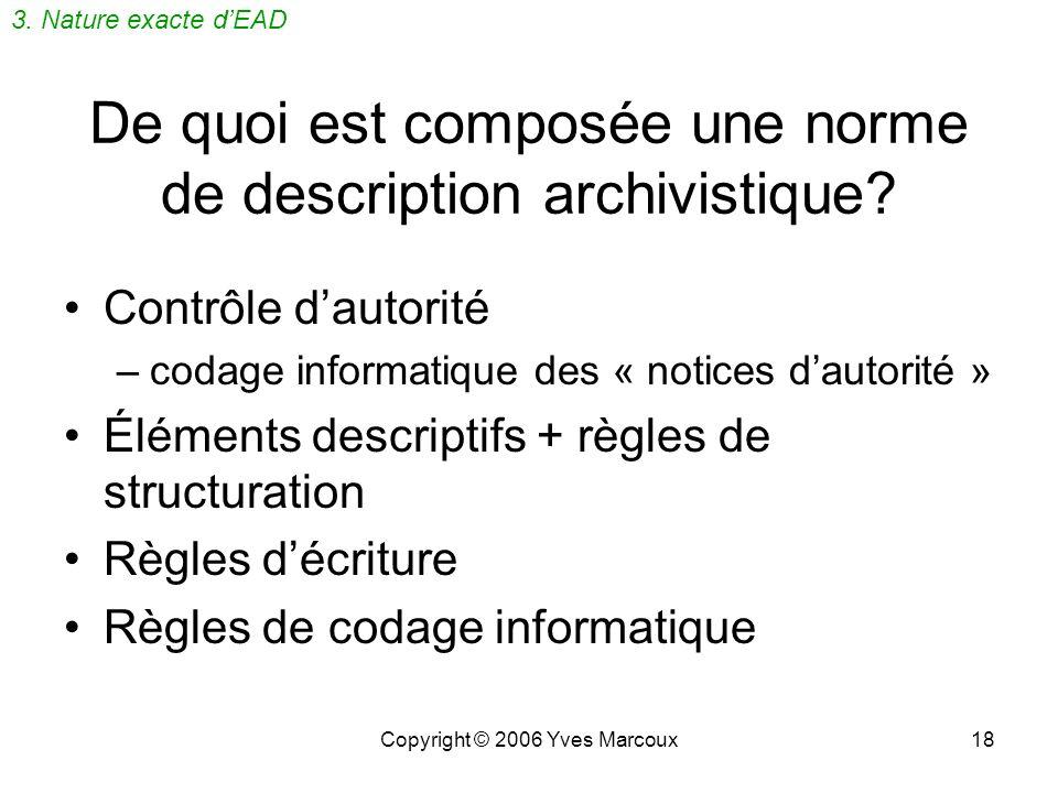 Copyright © 2006 Yves Marcoux18 De quoi est composée une norme de description archivistique.