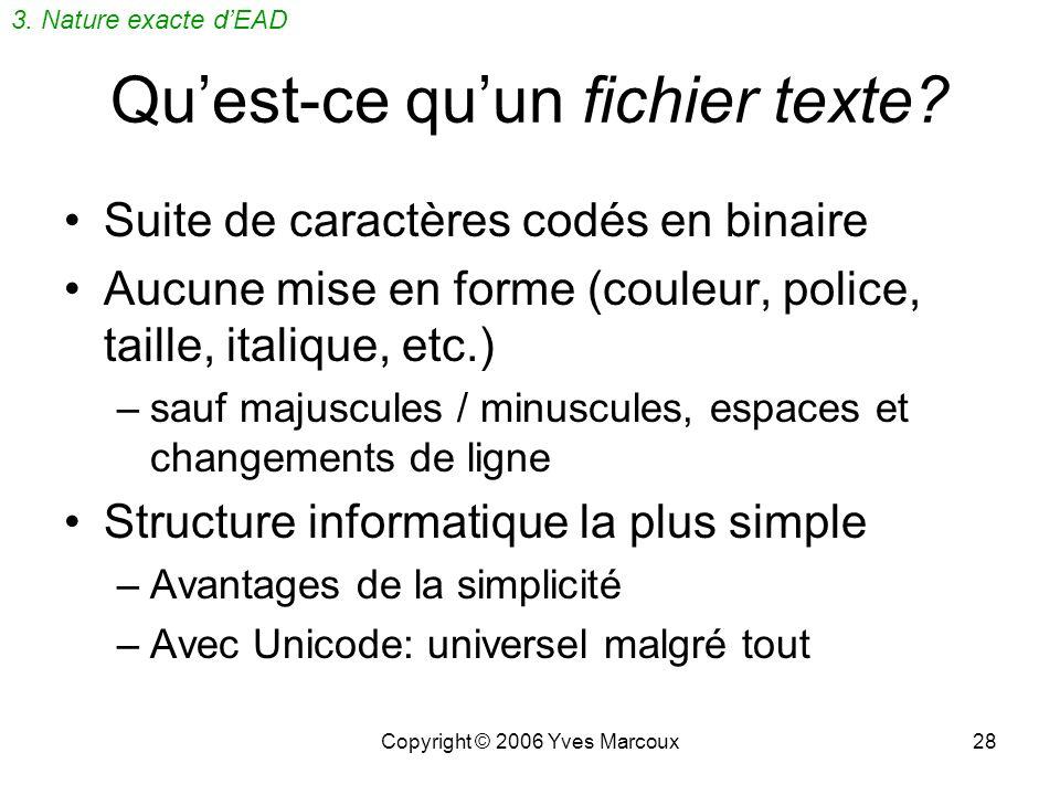 Copyright © 2006 Yves Marcoux27 Format de documents structurés Un format utilisant le balisage par dessus un format texte –Les documents XML sont auss