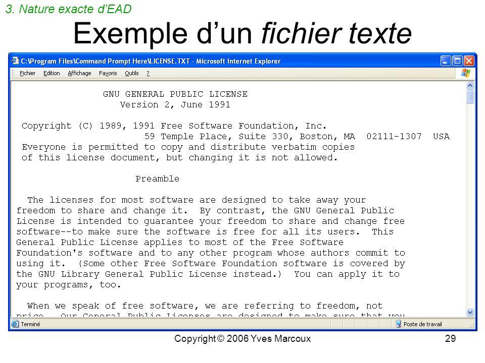 Copyright © 2006 Yves Marcoux28 Quest-ce quun fichier texte? Suite de caractères codés en binaire Aucune mise en forme (couleur, police, taille, itali