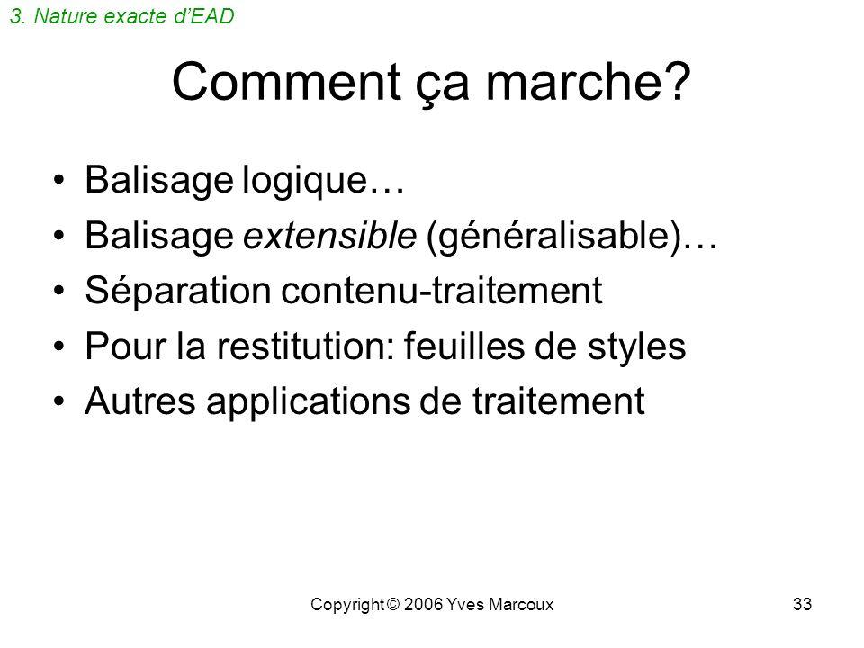 Copyright © 2006 Yves Marcoux32 XML: à quoi ça sert? Documents textuels (rapports, mémoires) Fiches, dossiers (médical, demployé) Métadonnées (MARC, G