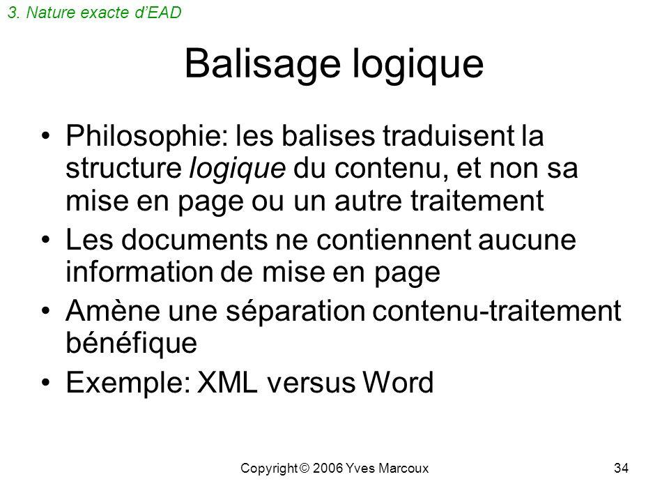 Copyright © 2006 Yves Marcoux34 Balisage logique Philosophie: les balises traduisent la structure logique du contenu, et non sa mise en page ou un autre traitement Les documents ne contiennent aucune information de mise en page Amène une séparation contenu-traitement bénéfique Exemple: XML versus Word 3.