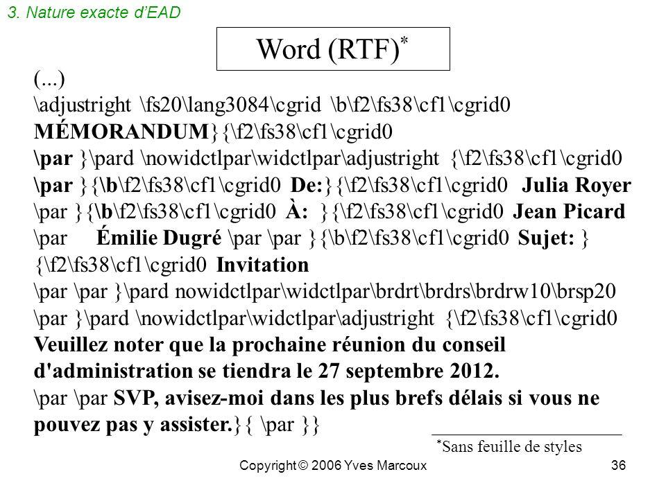 Copyright © 2006 Yves Marcoux35 Sur papier MÉMORANDUM De: Julia Royer À: Jean Picard Émilie Dugré Sujet: Invitation __________________________________