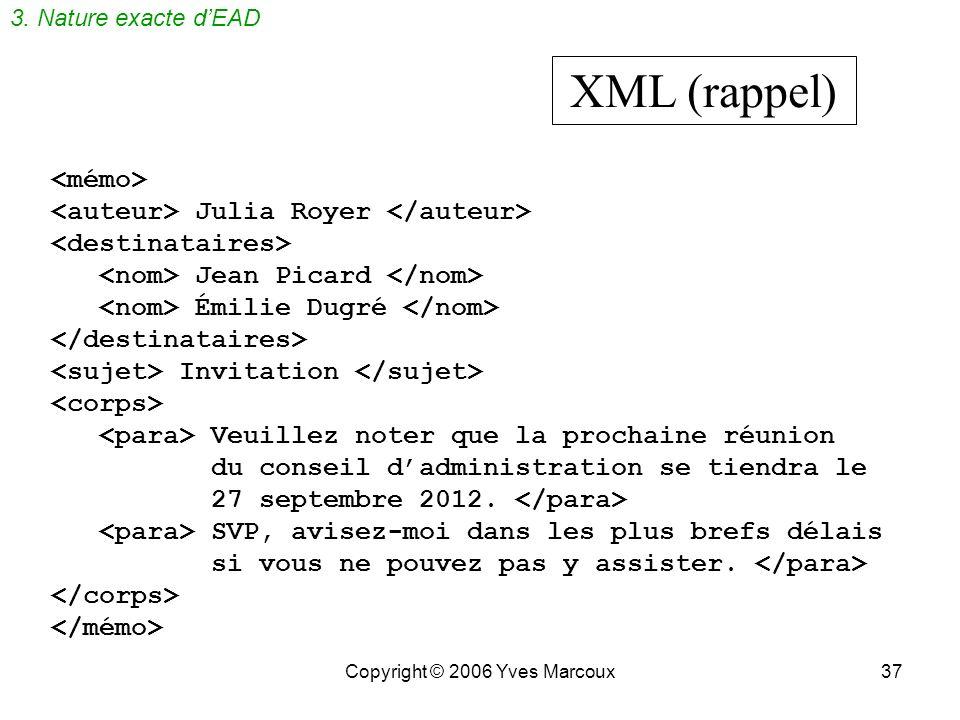 Copyright © 2006 Yves Marcoux37 XML (rappel) Julia Royer Jean Picard Émilie Dugré Invitation Veuillez noter que la prochaine réunion du conseil dadministration se tiendra le 27 septembre 2012.