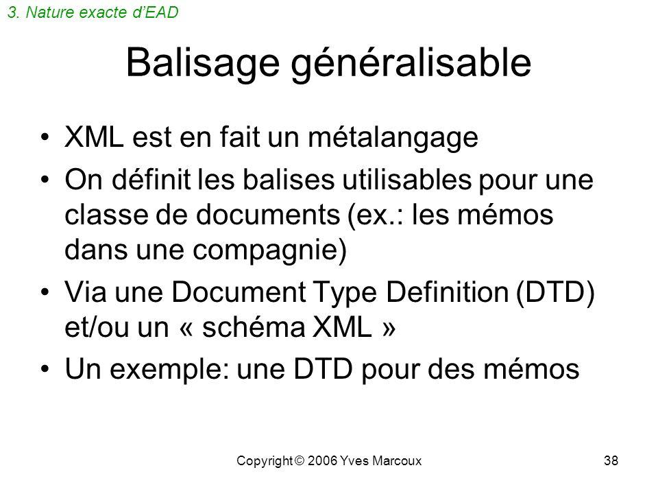 Copyright © 2006 Yves Marcoux37 XML (rappel) Julia Royer Jean Picard Émilie Dugré Invitation Veuillez noter que la prochaine réunion du conseil dadmin