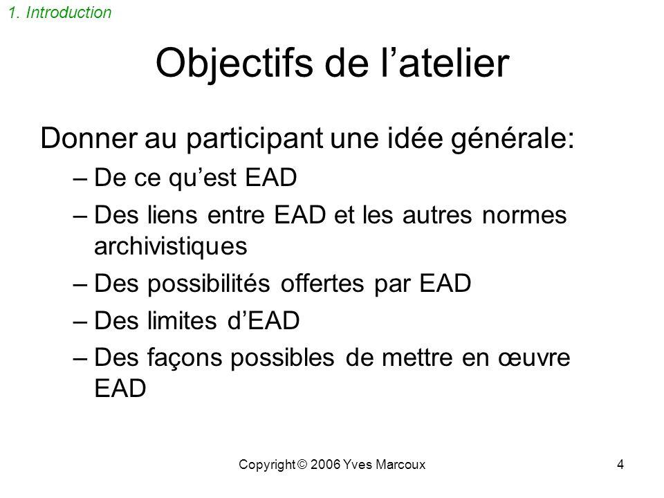 Copyright © 2006 Yves Marcoux3 1. Introduction Objectifs de latelier Qui suis-je? Petit sondage
