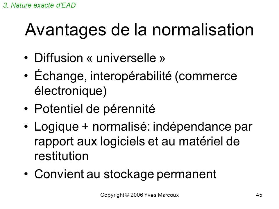 Copyright © 2006 Yves Marcoux44 Avantages du balisage logique Réutilisation de linformation, versatilité daccès Spécification des applications indépen