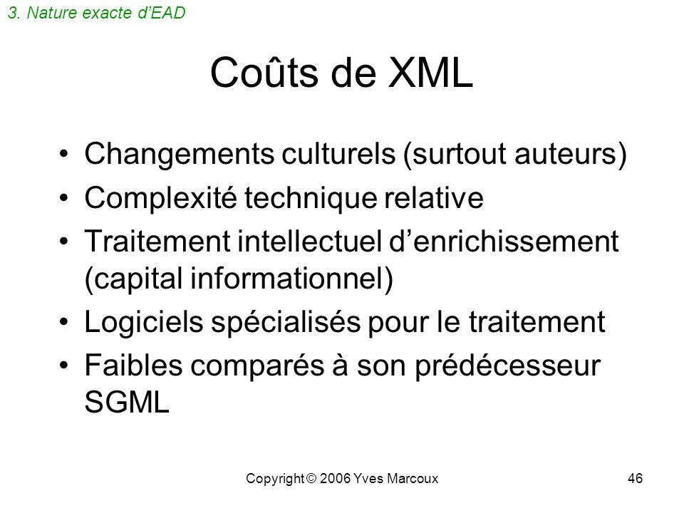 Copyright © 2006 Yves Marcoux46 Coûts de XML Changements culturels (surtout auteurs) Complexité technique relative Traitement intellectuel denrichissement (capital informationnel) Logiciels spécialisés pour le traitement Faibles comparés à son prédécesseur SGML 3.