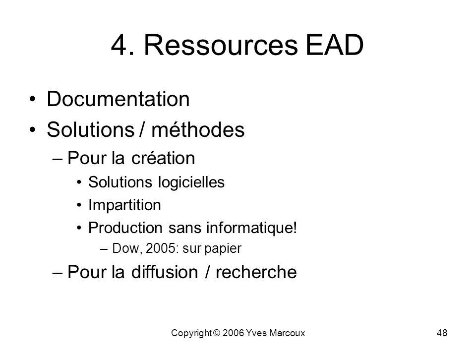 Copyright © 2006 Yves Marcoux47 Structure générale dEAD 3. Nature exacte dEAD Tiré des Application Guidelines v1.0