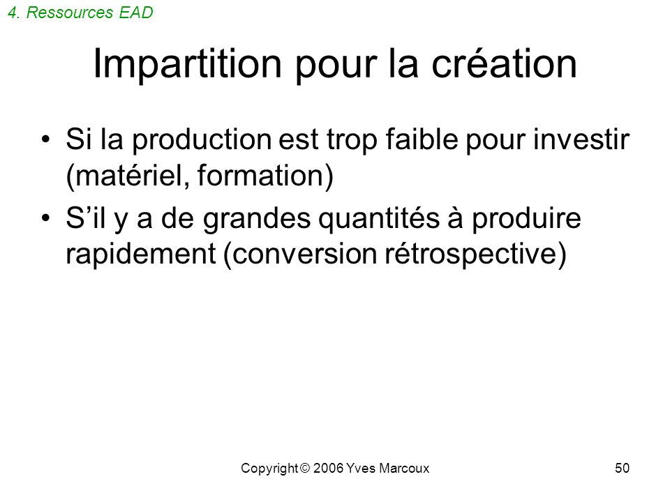 Copyright © 2006 Yves Marcoux49 Documentation Bibliothèque de balises (Tag Library) (269 p.) Recommandations dapplication (Application Guidelines) (30