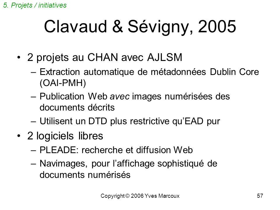Copyright © 2006 Yves Marcoux56 www.archivescanadafrance.org Participation de BAC et BAnQ IR convertis en EAD par ANF (semi- automatiquement) Lien ave
