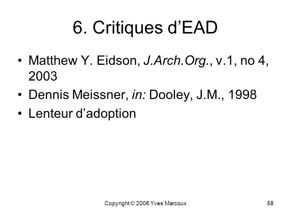 Copyright © 2006 Yves Marcoux58 6.Critiques dEAD Matthew Y.