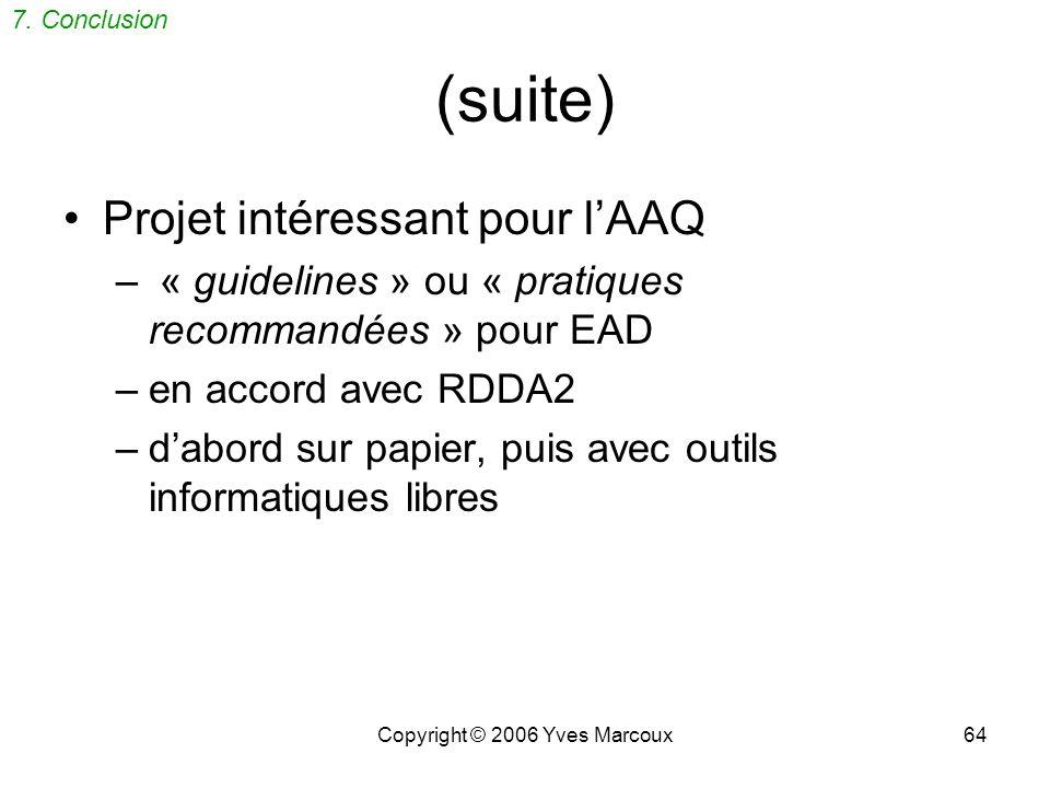 Copyright © 2006 Yves Marcoux64 (suite) Projet intéressant pour lAAQ – « guidelines » ou « pratiques recommandées » pour EAD –en accord avec RDDA2 –dabord sur papier, puis avec outils informatiques libres 7.