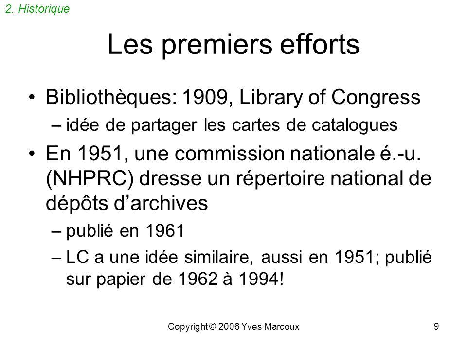 Copyright © 2006 Yves Marcoux9 Les premiers efforts Bibliothèques: 1909, Library of Congress –idée de partager les cartes de catalogues En 1951, une commission nationale é.-u.