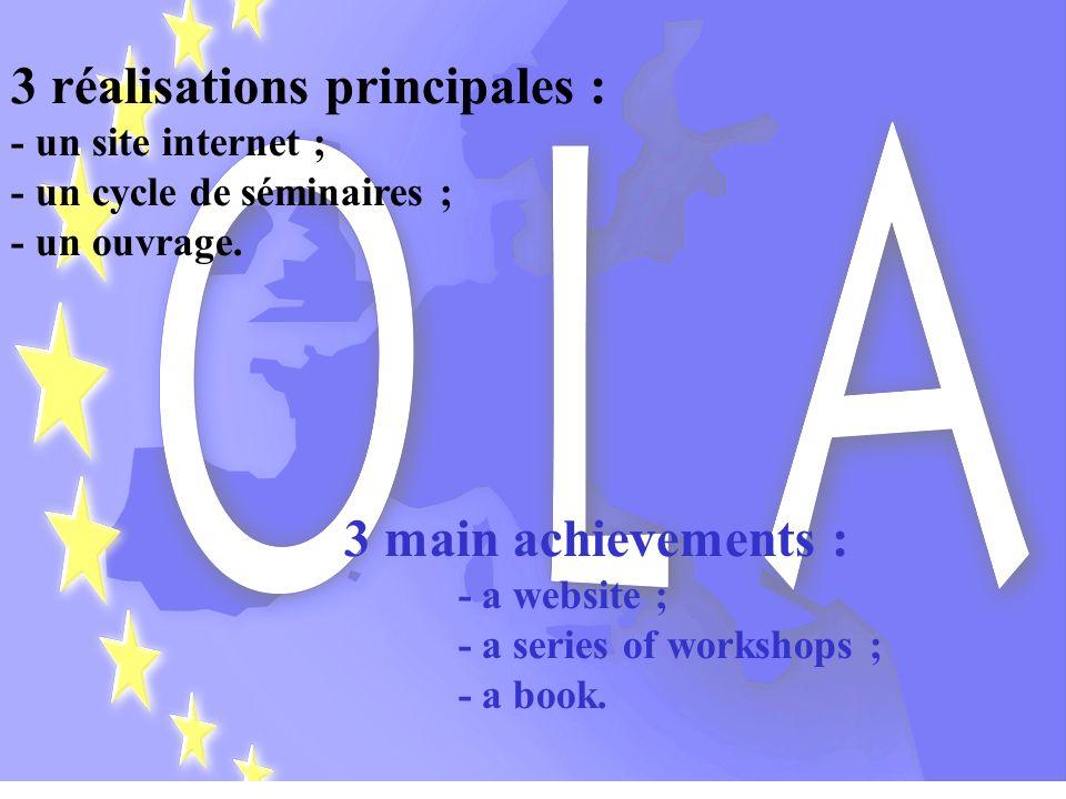 Initié par des chercheurs de lUniversité de Lille 2 (France), OLA est un réseau de recherche scientifique, principalement composé duniversitaires et de hauts-responsables dadministration dÉtat et de collectivité locale appartenant à chacun des 27 États-membres de lUnion européenne.