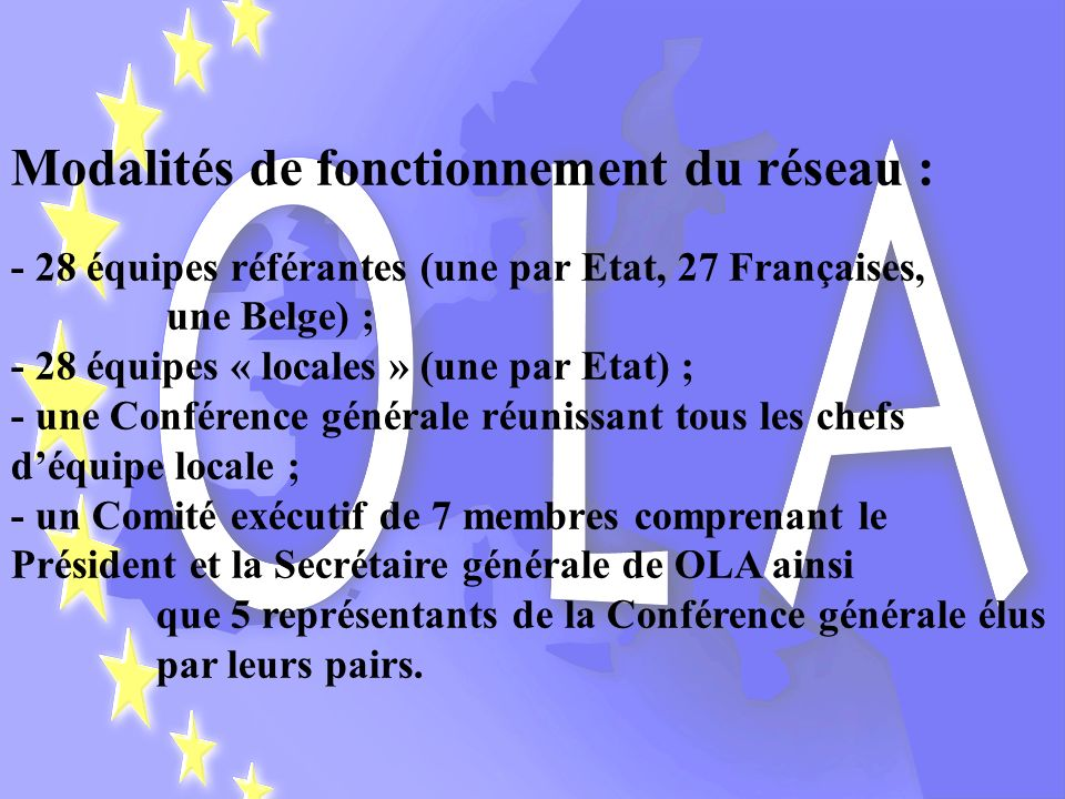Modalités de fonctionnement du réseau : - 28 équipes référantes (une par Etat, 27 Françaises, une Belge) ; - 28 équipes « locales » (une par Etat) ; -